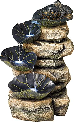 Lamps Plus Frog and Four Lily Pad Rustic Outdoor Floor Water Fountain