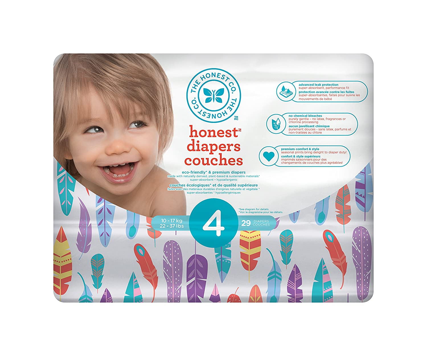 34 Count size 3 The Honest Company Disposable diapers rose blossom print polybag