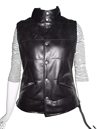 Nettailor Big And Tall Women Plus 4105 Leather Vest High Stand