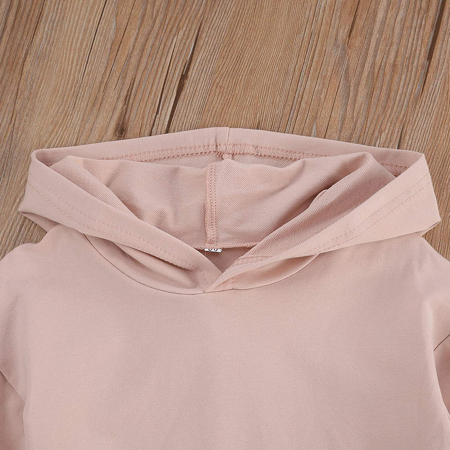 Toddler Baby Girl Hoodie Sweatshirt Dress Tunic Solid Long Sleeve Hooded Pullover Top Fall Winter Clothes