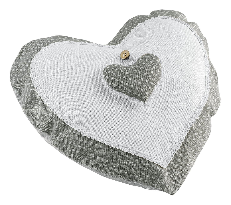 cojin con forma de corazon gris/blanco