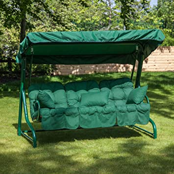 Alfresia Roma 3 Seater Swing Seat Green Frame With Classic Green
