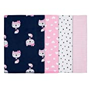 Gerber Baby Girls' 4-Pack Flannel Burp Cloth, Fox 20  x 14