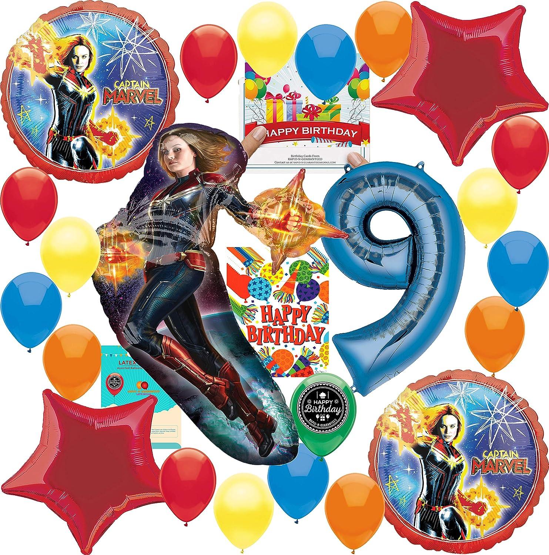 キャプテンマーベルパーティー用品 9歳の誕生日バルーンデコレーションバンドル 誕生日カードと8つのお菓子バッグ付き   B07PPK2Q8K