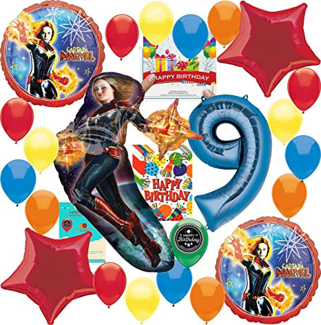 Amazon Captain Marvel Party Supplies 9th Birthday Balloon Decoration Bundle With Card And 8 Treat Bags Toys Games