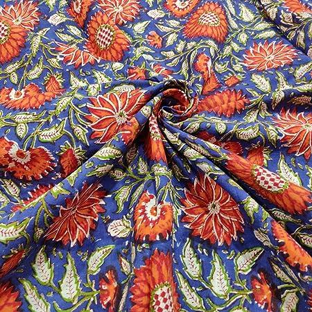 Tela de algodón estampada en bloque Tela india impresa a mano, tela de algodón suave de The Yard Fabric, tela estampada Jaipuri Kurti para el vestido de verano (20 yards): Amazon.es: Hogar