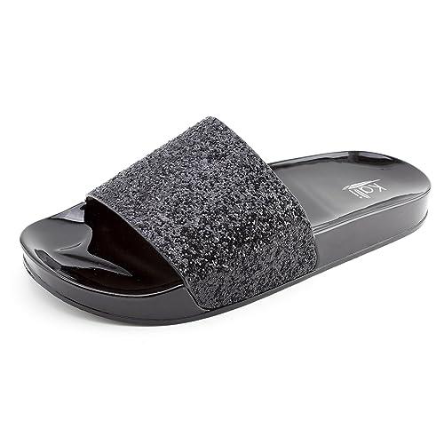 71fdf4504d34e Kali Womens Wide Single Glitter Band Slip On Slide Sandals (Adults ...