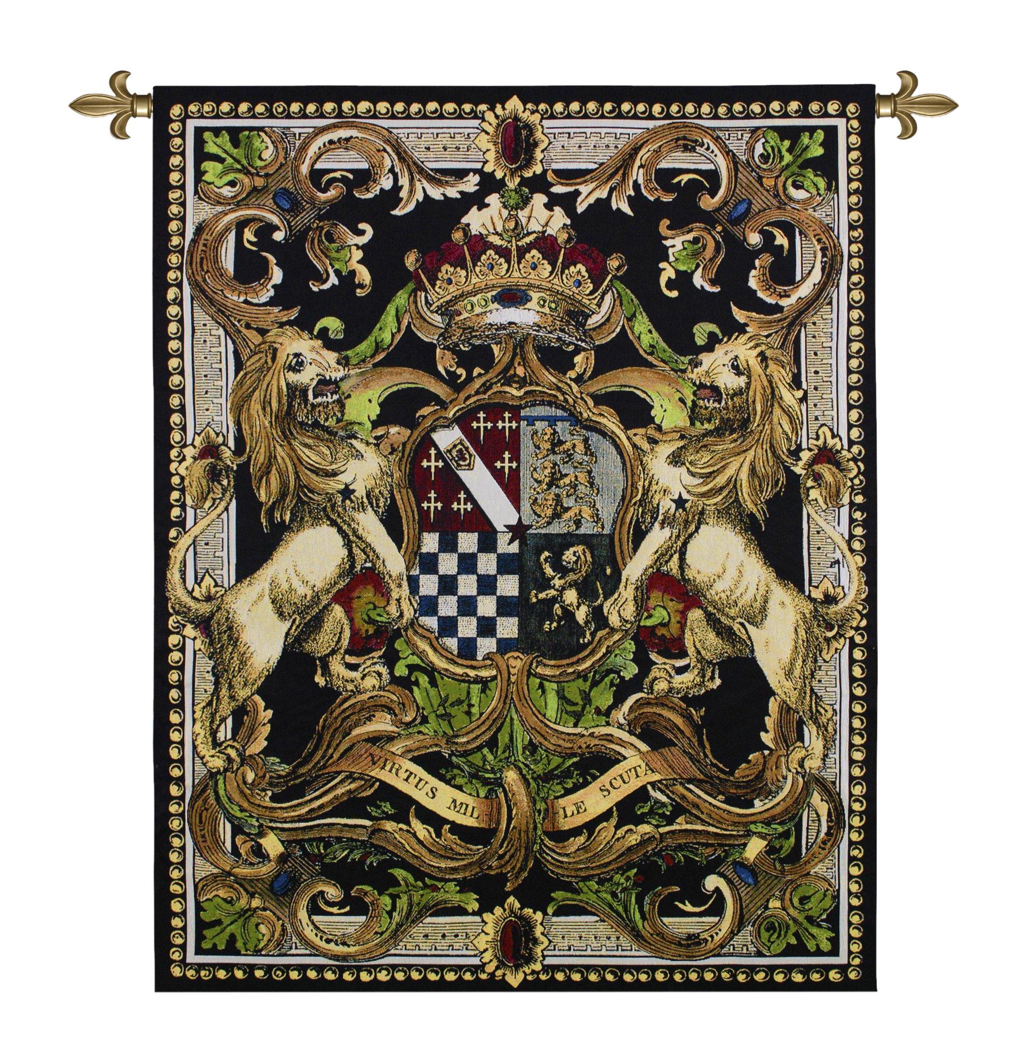 Fine Art Tapestries ''Crest On Black II'' Wall Tapestry