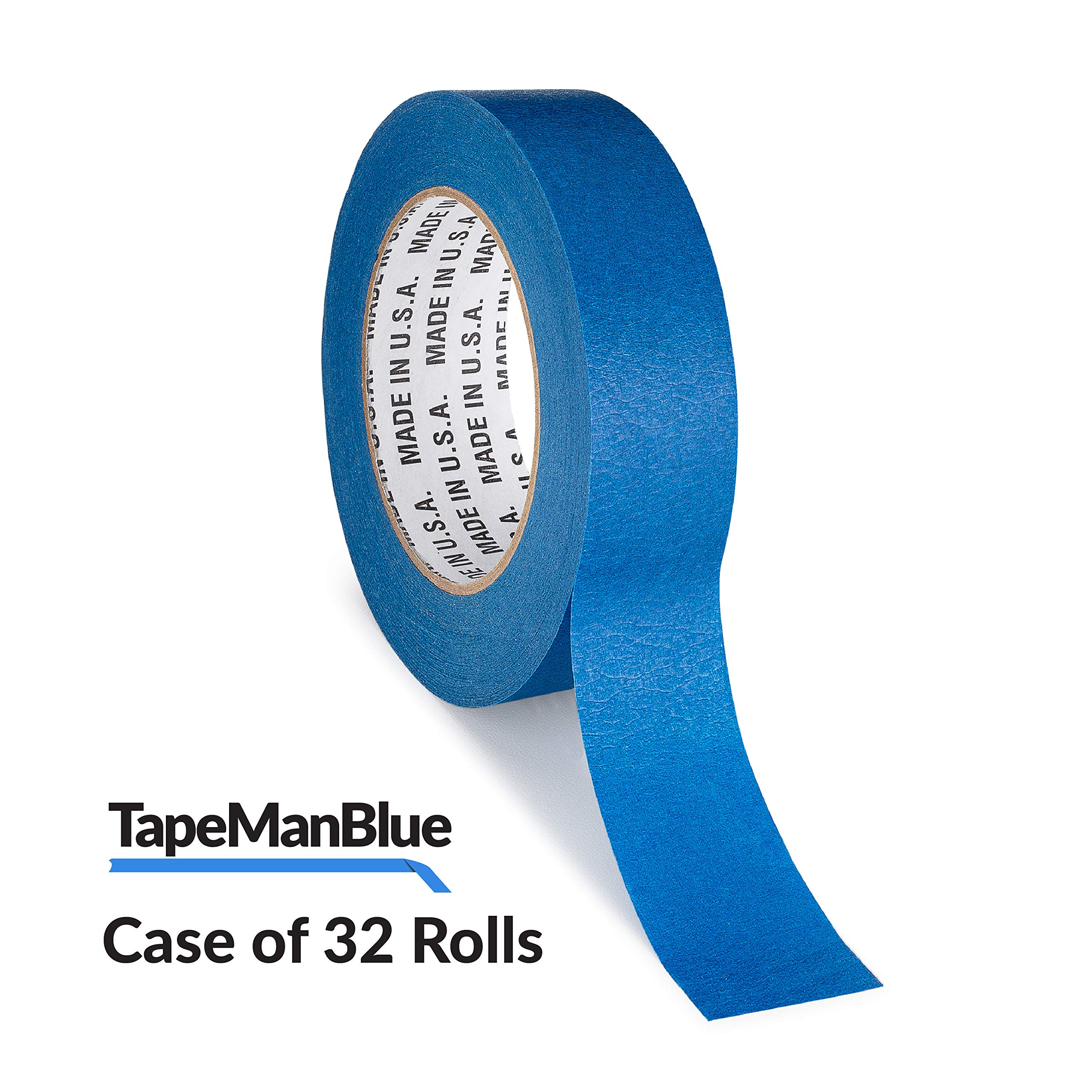 TapeManBlue Blue Painters Tape, 1.5 inch x 60 Yards, Case of 32 Rolls, Made in USA by TapeManBlue