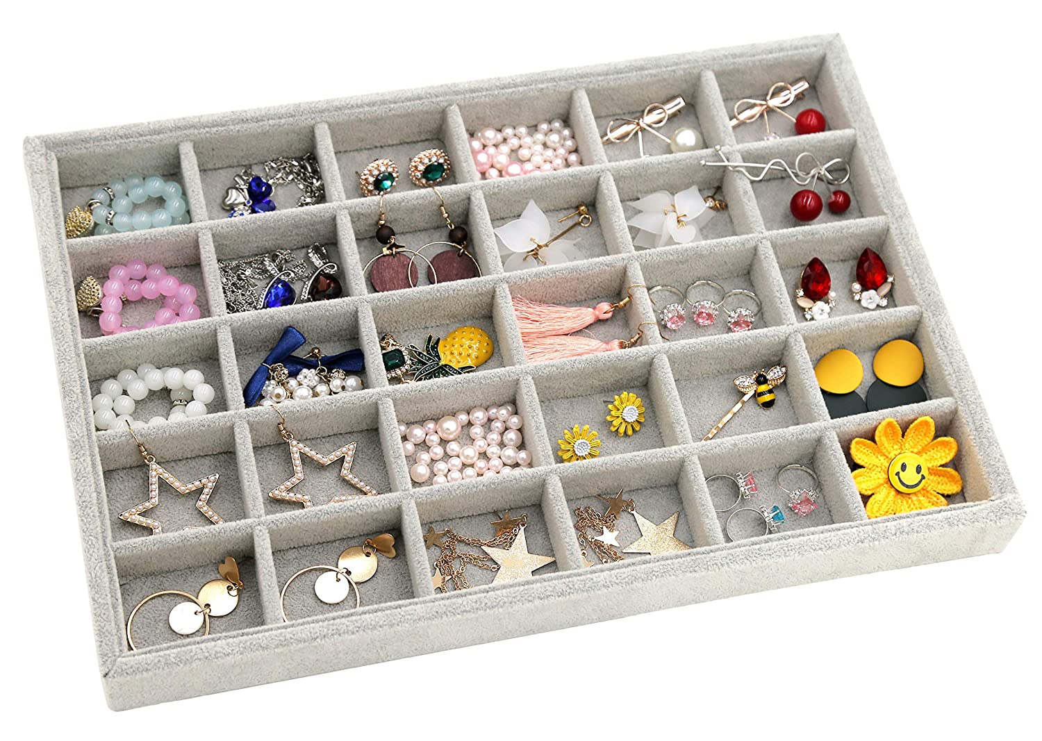 100 Slot Rings Outdoorfly Velvet 100 Slot Ring Display Jewelry Tray Stackable Storage Organizer Rings Holder Showcase