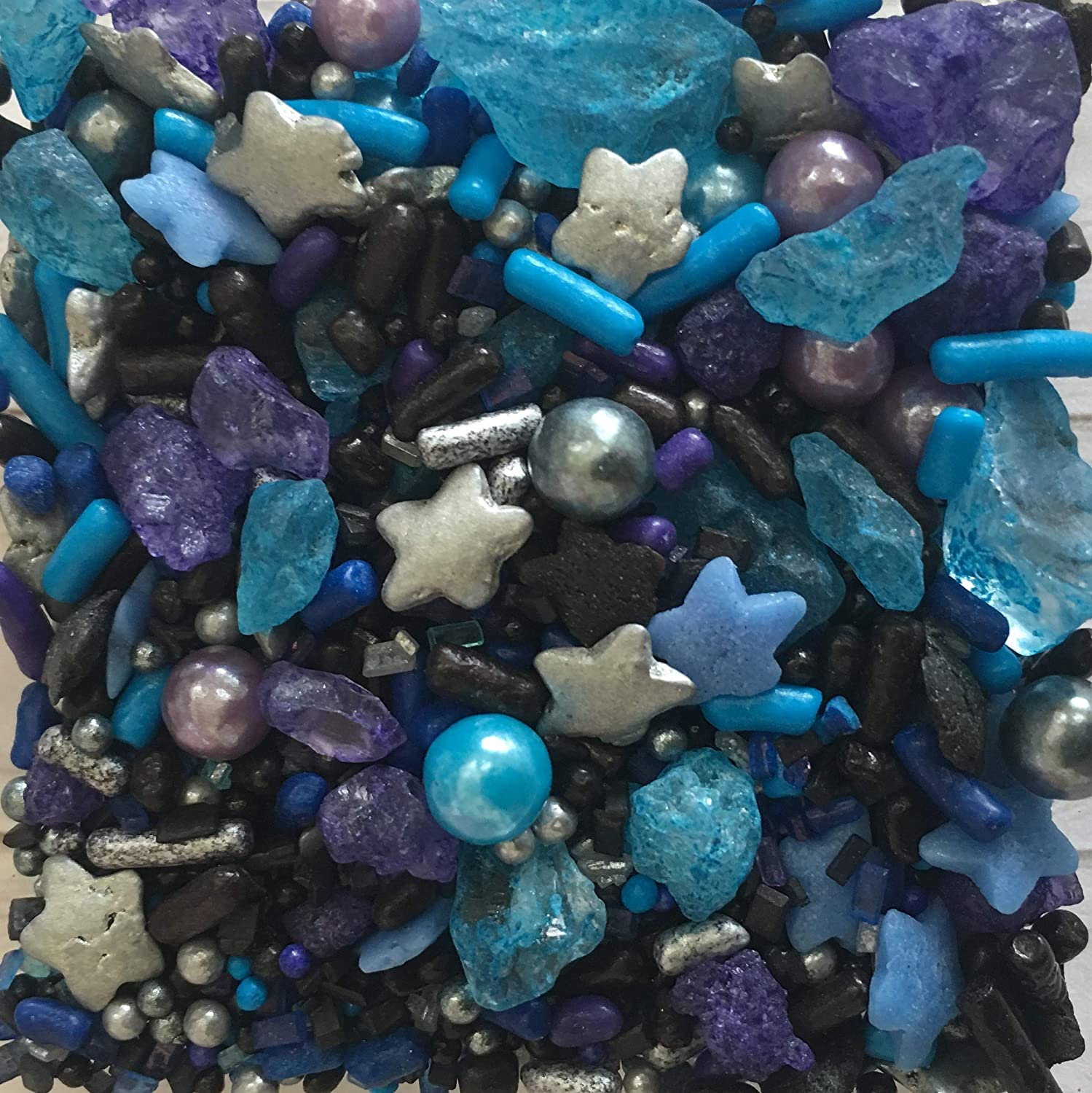 Galaxy Sprinkles for Baking and Decorating Cupcake, Cakes, Cookies, and Ice Cream! Bulk Medley Mix for Birthday Party I Edible Star Shaped Candy Decorations I 8 oz I Black I Blue I Purple I White I