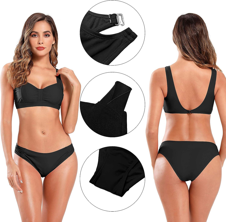 SHEKINI Damen Weste Bikini Set V Ausschnitt Gepolsterte Einlagen Soprtlicher Wassersport Zweiteiliger Bikinis Schwarz Low Waist Hose
