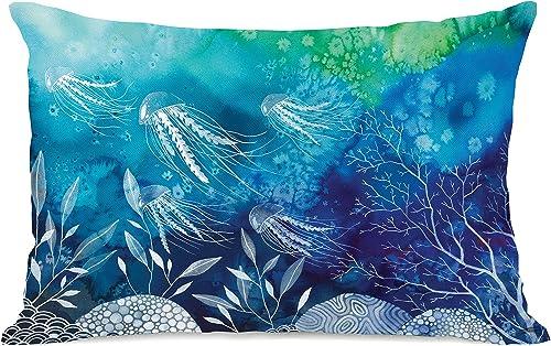 One Bella Casa Sea Life Throw Pillow by Ana Victoria Calderon, 14 x 20 , Multi
