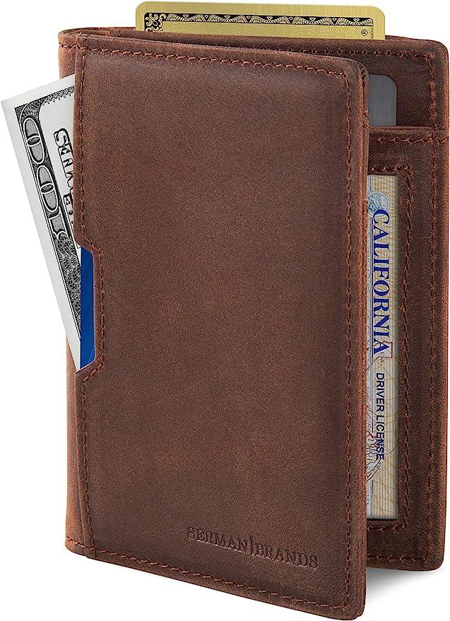 SERMAN BRANDS Genuine Carbon Fiber Credit Card Holder Front Pocket Minimalist Mens Thin Wallet with Emergancy Bottle Opener