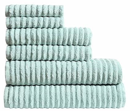 Sweet Needle - Zero Twist Rippled Juego de toallas de 6 piezas, Aqua - 2