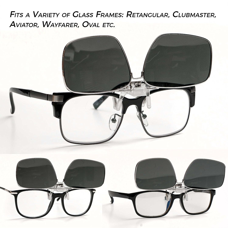 ElementsActive Metallic Rim Polarized Clip-on Driving Sunglasses with Flip Up Function black