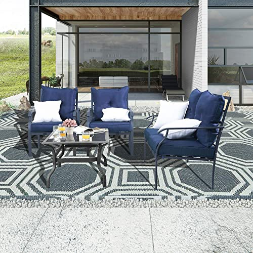 PatioFestival Outdoor Dining Set Patio Bistro Conversation Furniture Sets Cushioned Sofa Chair Metal Loveseat Tile Tabletop Rectangle Table with Thick Cushions 4 Pcs,Blue