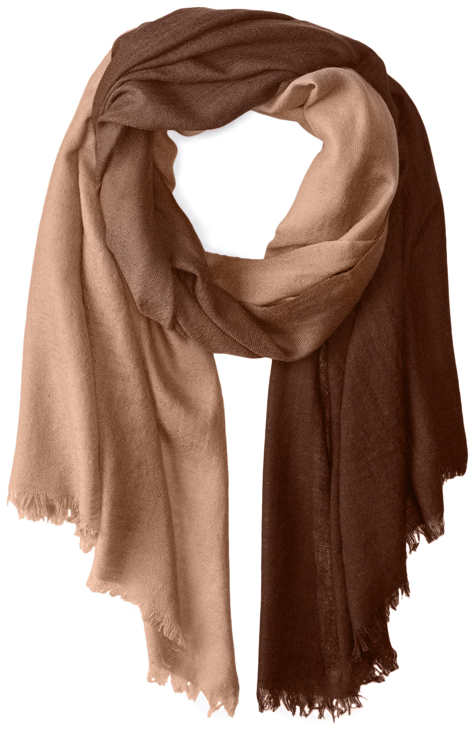 La Fiorentina Women's Cashmere Blend Lightweight Ombre Scarf with Fringe, Mocha, One Size
