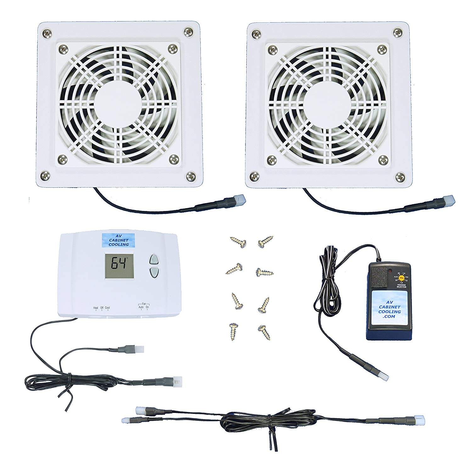 Amazon.com: 2 Zone AV Cabinet Multispeed Cooling Fans With Digital  Thermostat (White Model): Electronics