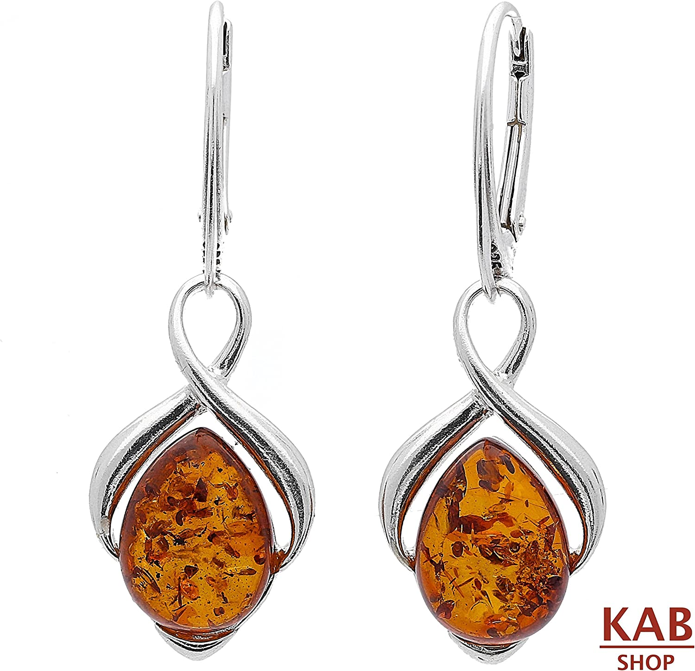 Dark Cognac Baltic Amber Earrings Balls on Silver 925