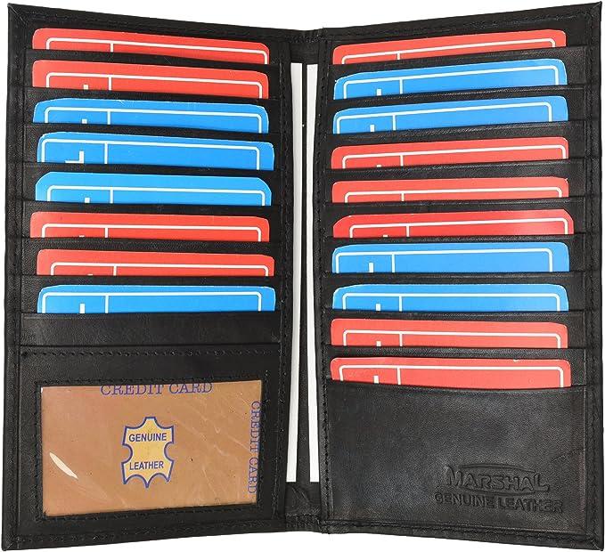 1 ID Window Genuine Leather Credit Card Holder Wallet 19 Card Slots