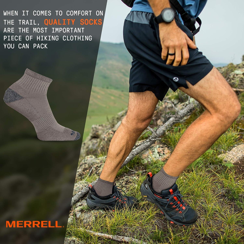 Low//Quarter//Crew Socks Merrell Mens 3 Pack Cushioned Performance Hiker Socks