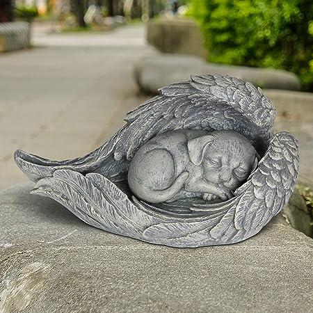 Outdoor ANGEL WING CAT MEMORIAL STATUE GRAVE MARKER Kitten Headstone Sculpture