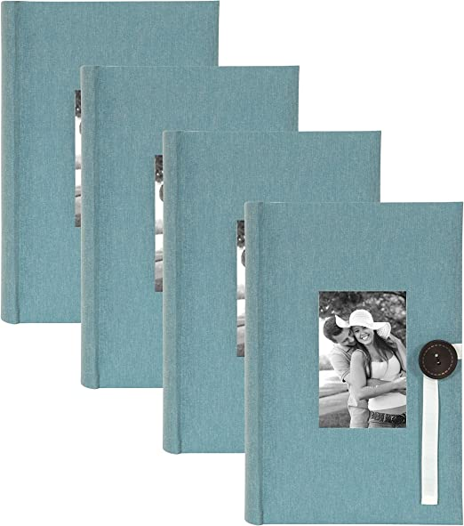 200 Photos DesignOvation Debossed Faux Leather Photo Albums Set of 4 Gray