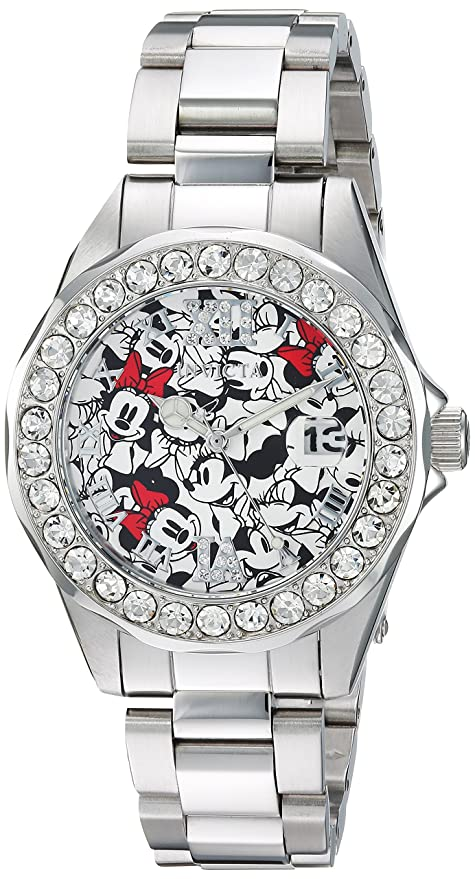 Invicta Women's Disney Limited Edition Analog-Quartz Watch with Stainless-Steel Strap, Silver, 18 (Model: 22872)