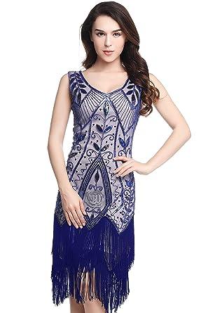 ArtiDeco 1920s Kleid Damen Retro 20er Jahre Stil Flapper Kleider mit ...