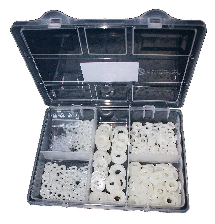 Sortiment Unterlegscheiben DIN 125 Polyamid Kunststoff 550 Teile M3, M4, M5, M6, M8, M10 Schräubchen24