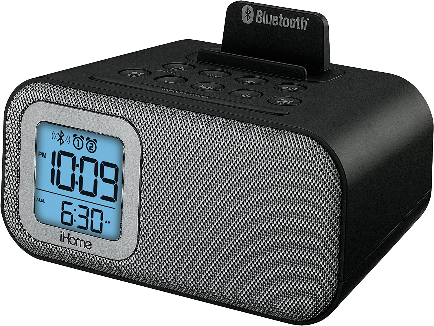 iHome IBT22BC Bluetooth Bedside Dual Alarm Clock with USB Charging and Line-In (Black)