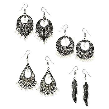 Zaveri Pearls Combo of 4 Dark Antique Silver Earrings