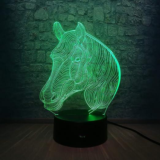 Luz nocturna led-3D-siete colores-control remoto cabeza de caballo ...