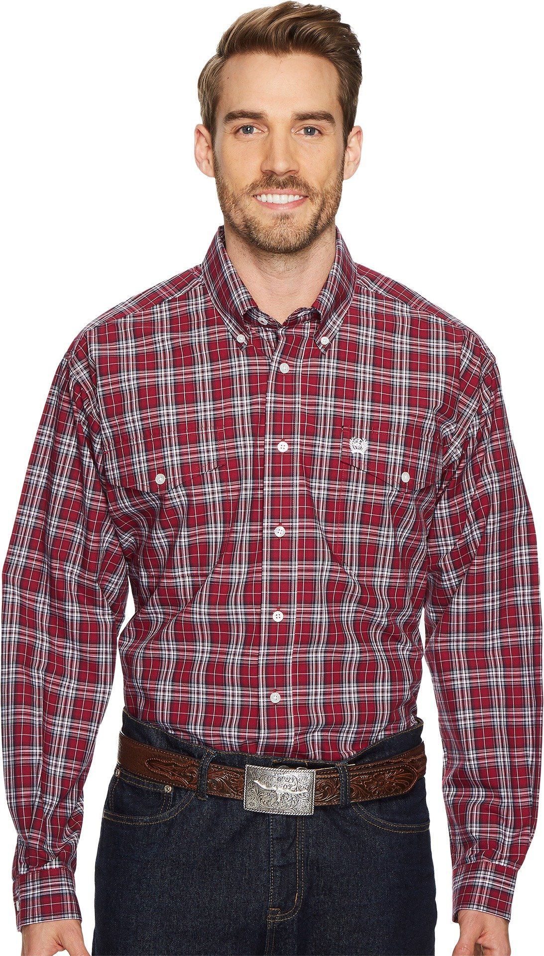 Cinch Men's Plaid Long Sleeve Western Shirt Red XX-Large
