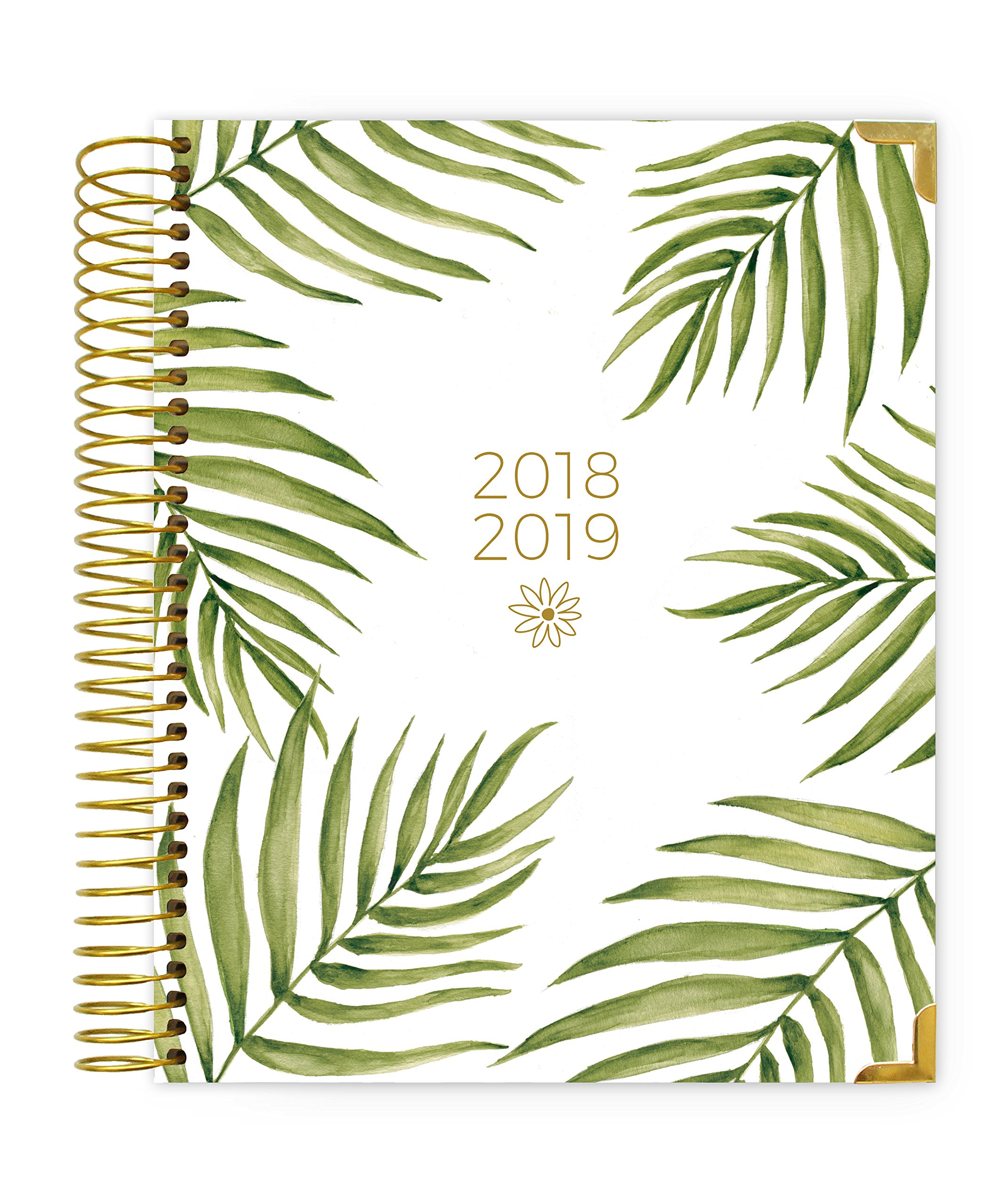bloom daily planners 2018-2019 Academic Year Hard Cover Vision Planner - Monthly and Weekly Column View Day Planner - (August 2018 - July 2019) - 7.5'' x 9'' - Palm Leaves