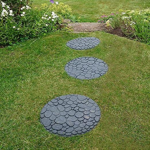 Garden Gear - Piedras escalonadas Reversibles, ecológicas, Efecto de Roca de río, Goma reciclada Ornamental para jardín, Camino y Patio (1 Piedra 45 x 45 cm): Amazon.es: Jardín
