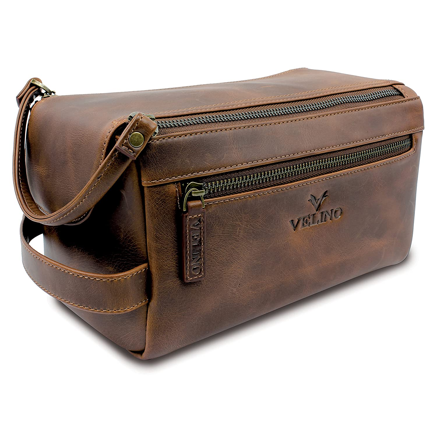9bbcaa76f8a4 Amazon.com   Velino Handmade Genuine Buffalo Leather Unisex Toiletry Bag  Travel Dopp Kit Grooming and Shaving Kit ~ Gift for Men Women ~ Hanging  Zippered ...