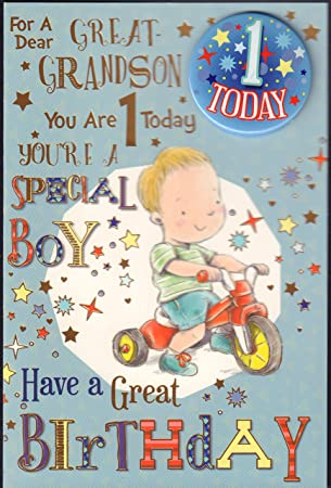 Great Grandson 1st Birthday Card For A Dear Great Grandson You