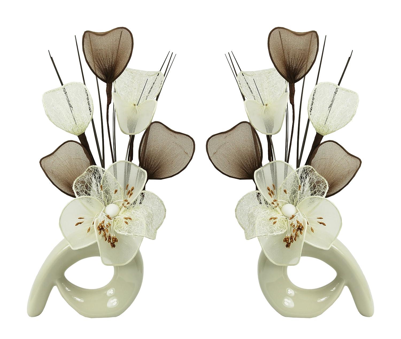 Flourish, 792251QH1,Coppia di vasi Decorativi abbinabili, con Fiori Artificiali in Nylon, Piccolo Regalo per la casa, 32cm Cream 794088