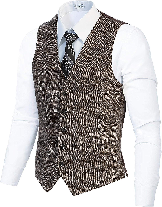 Gioberti Men's 5 Button Slim Fit Formal Herringbone Tweed Suit Vest
