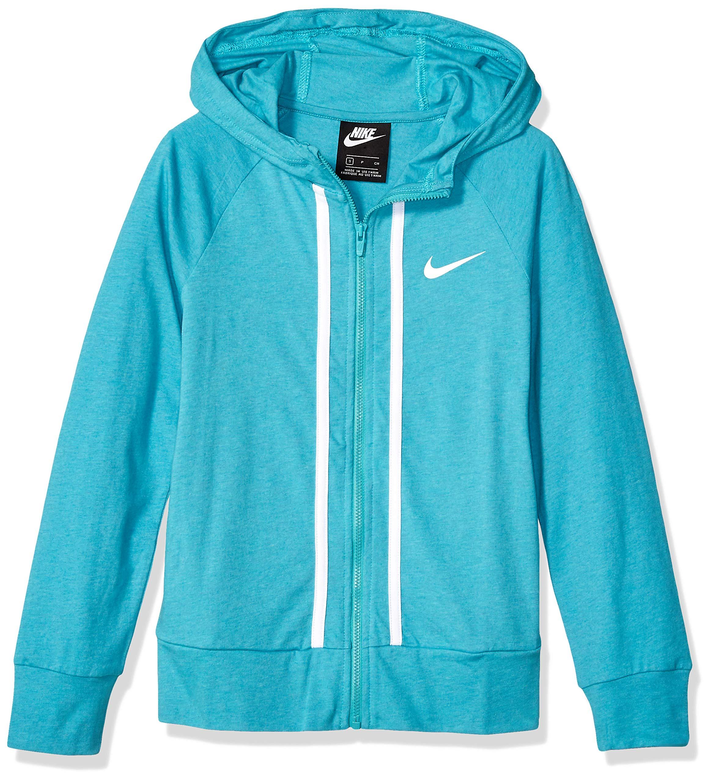 NIKE Girl's NSW Full-Zip Jersey, Cabana/Heather/White, Large by Nike