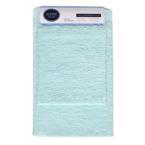 Gray 2-Pc Plush Bath Mat//Rug 17in x 24in 20in x 30 Non-Slip Backing