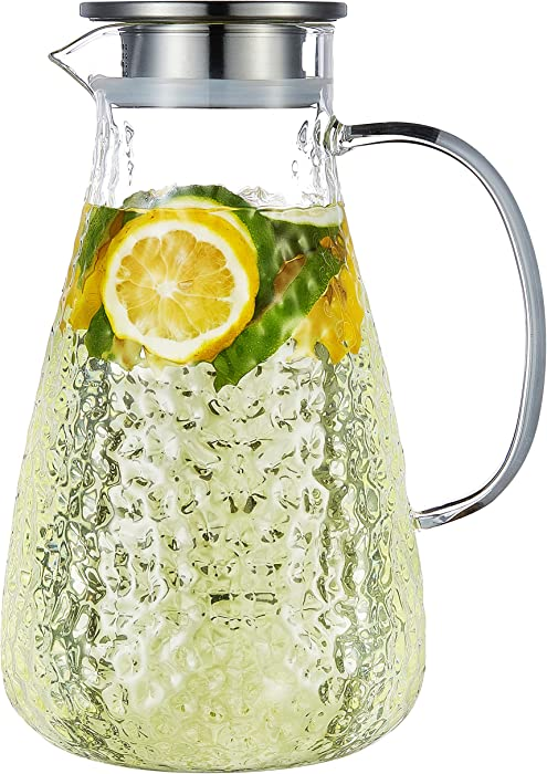 Karafu 78 Oz Glass Pitcher with Lid & Safe Packing, Heat Resistance Glass Jug for Hot/Cold Water, Ice Tea and Juice Beverage