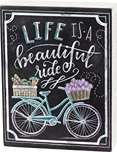 """Primitives by Kathy LIFE is a Beautiful Ride Hand-Lettered Style Bicycle-Themed Wood Box Sign, Colorful Chalk Design, Charming Illustrated Wall Décor with Calligraphy, 6.5"""" x 8.5"""""""
