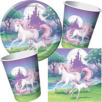 Juego De 33 Set De Fiesta Fantasy Unicornio Para Fiestas De