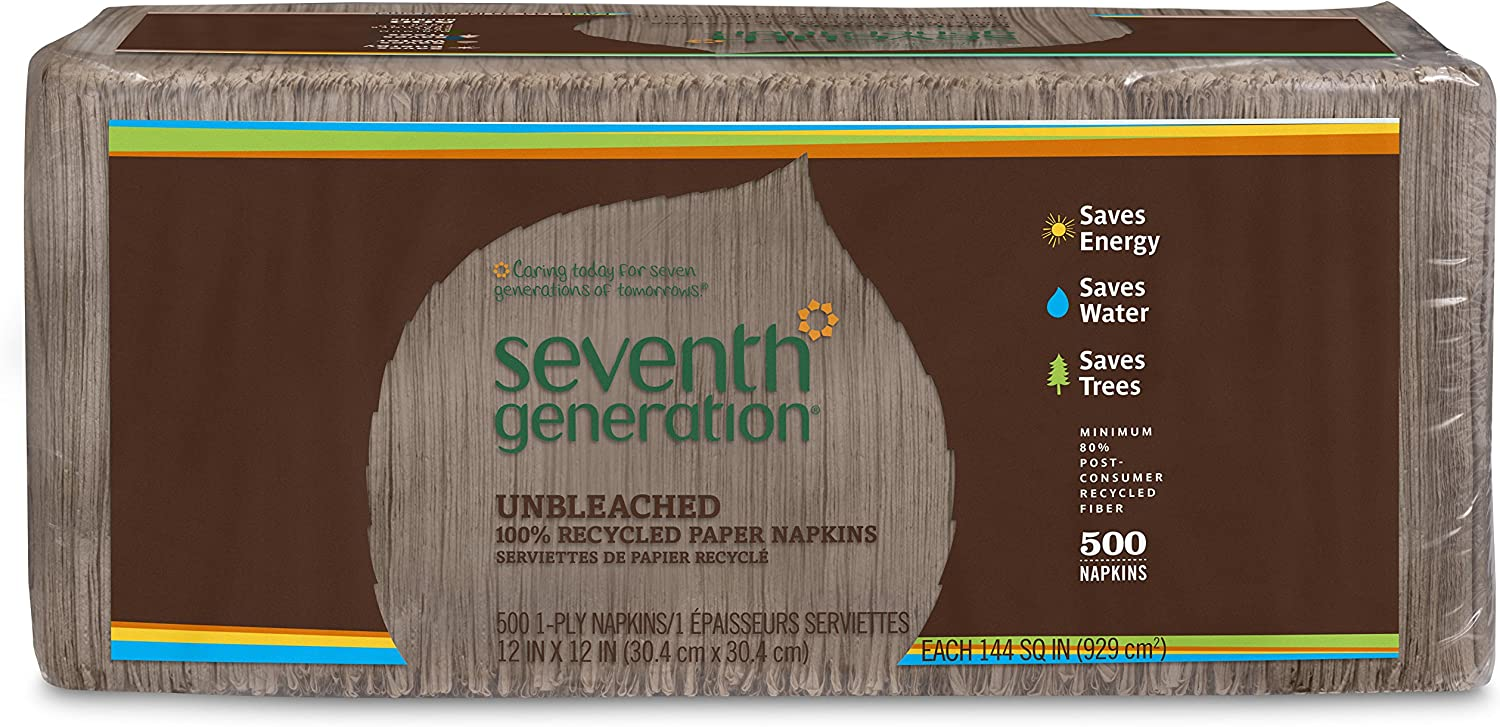Seventh Generation Lunch Napkins, Natural, 1-Ply Sheets, 500-Count Packages (Pack of 12)