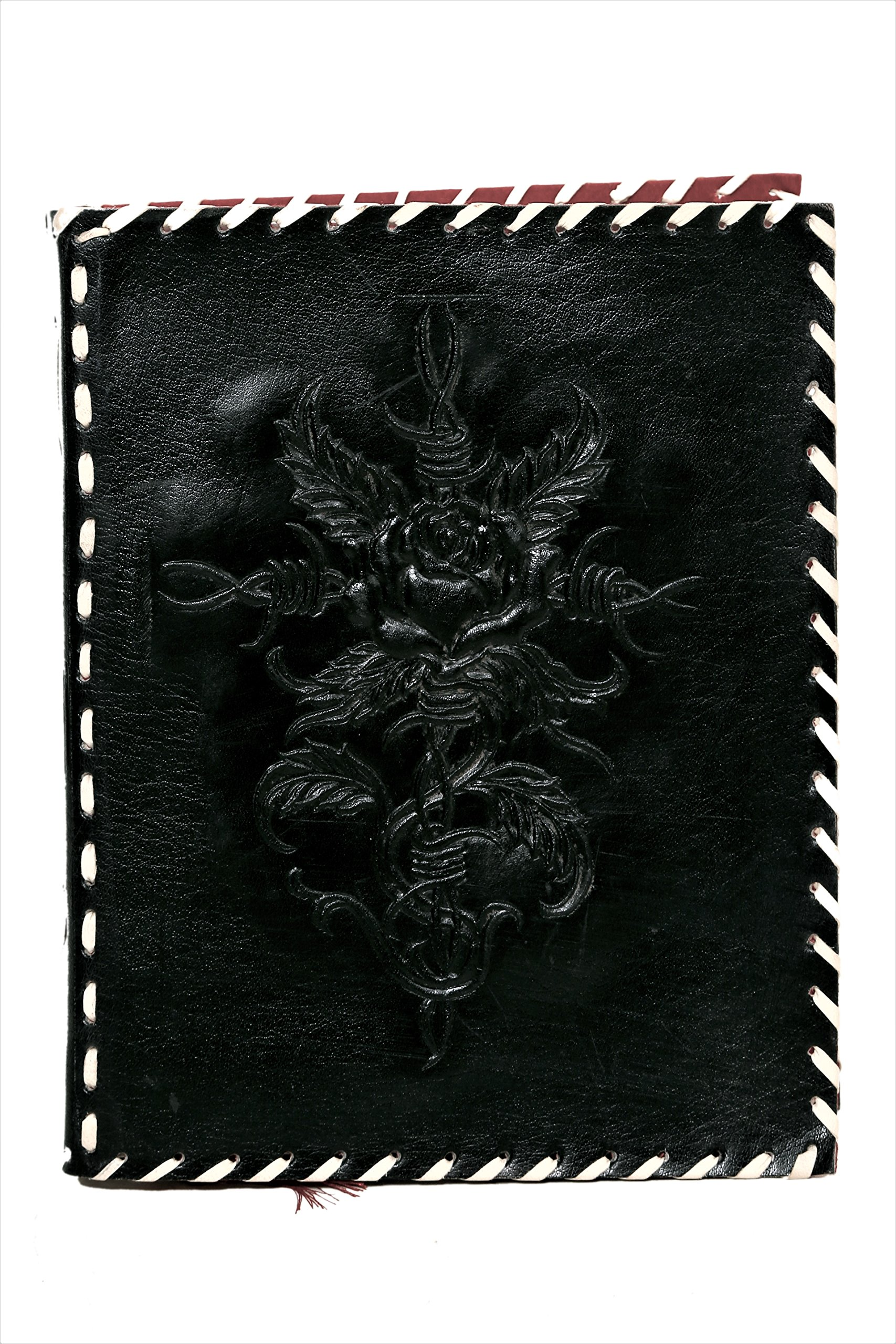 Imperial Leather Journal 9 X 7'' Embossed Celtic Rose with Cross - Black, Leather Notebook, Diary, Sketchbook, Travel And Thought Blank Book for Writing & Sketching