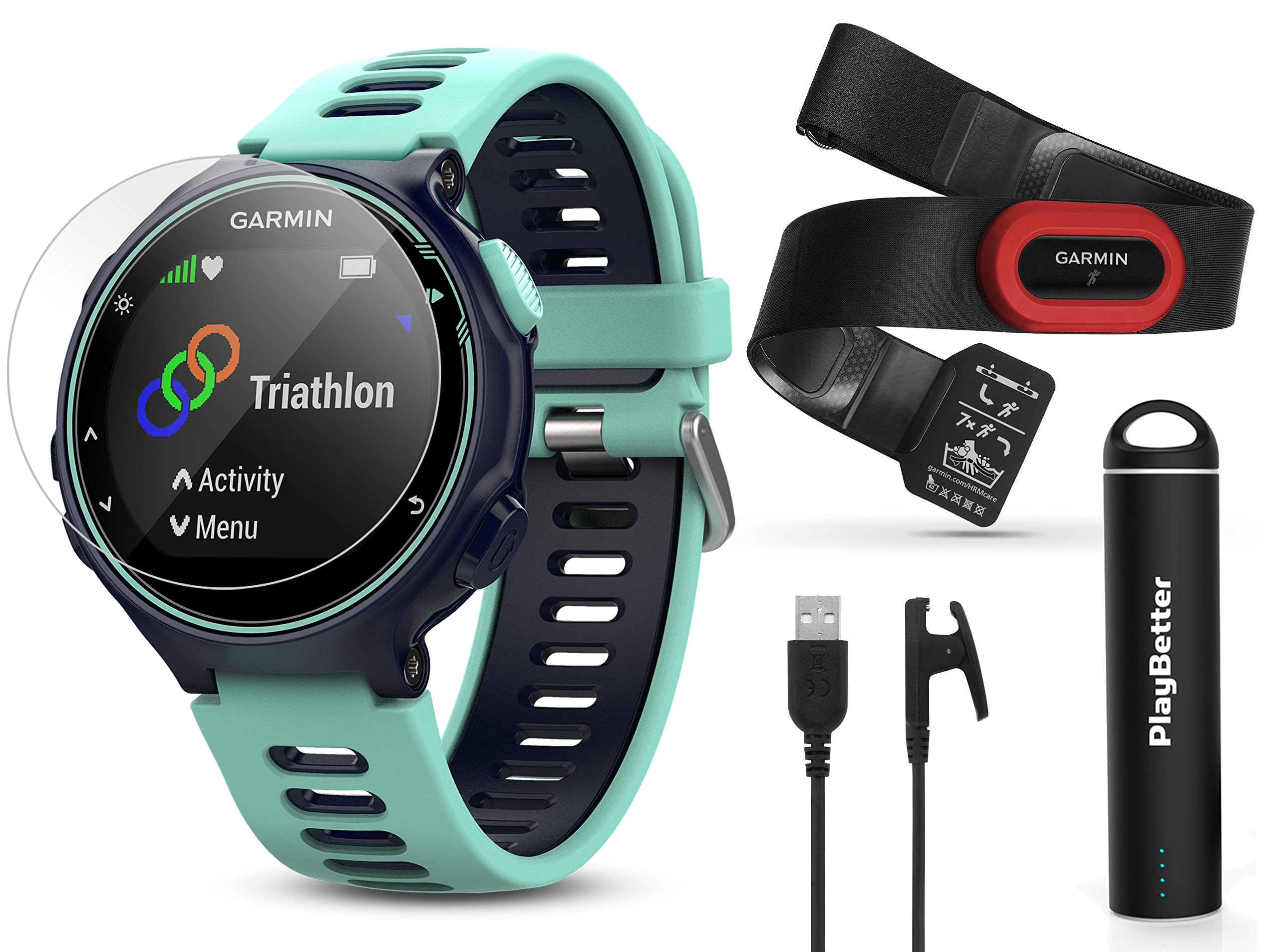 Garmin Forerunner 735XT (Frost Blue, Run-Bundle) Power Bundle | Includes HRM-Run Chest Strap, HD Glass Screen Protectors (x2) & PlayBetter Portable Charger | Multisport GPS Running Watch by PlayBetter (Image #1)