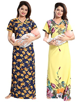 TUCUTE Women s Sarina Beautiful Floral Print with Invisible Zip Nursing  Nighty (Navy Blue and Yellow 8550e5b22